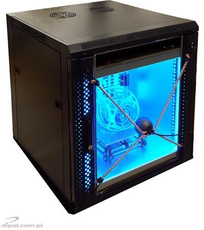 3D printer in Signal rack cabinet, with video monitoring