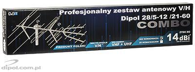 Profesjonalny zestaw antenowy z polaryzacją H/V Dipol 28/5-12/21-60 DVB-T