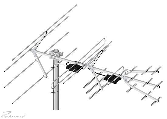 Professzionális VHF és UHF DVB-T Antenna egység (H/V): DIPOL 28/5-12/21-60