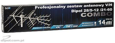 Profesjonalny zestaw antenowy z polaryzacją H/V Dipol 28/5-12/21-60 DVB-T ze wzmacniaczem LNA-101
