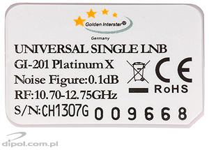 Full Band LNB: Golden Interstar GI-201 (0.1 dB)