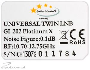 TWIN Fullband LNB: Golden Interstar 0.2 dB