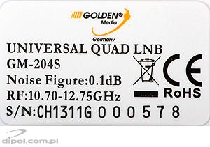 QUAD FULLBAND LNB: Golden Media 0.1 dB