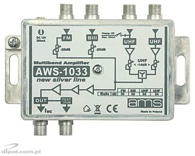 Indoor Antenna Amplifier: AWS-1033 SilverLine (FM/BIII/2*UHF/33dB)