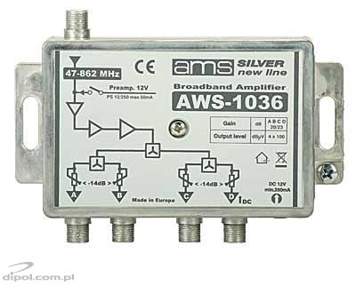 Indoor antenna amplifier: AWS-1036 SilverLine (1 input, 4 adjustable outputs)