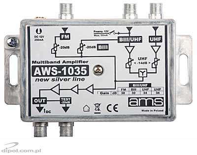 Indoor Antenna Amplifier: AWS-1030 SilverLine (BI-FM/BIII/2*UHF/33dB)