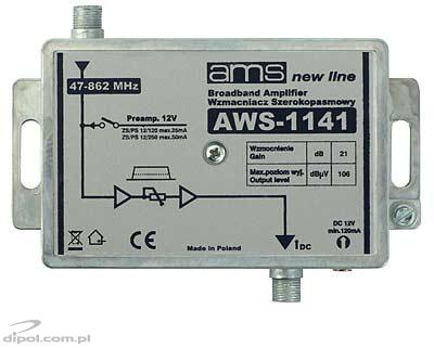Indoor antenna amplifier AWS-1141 47-862MHz 1-in, 1-out 21dB