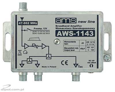 Indoor antenna amplifier AWS-1143 47-862MHz 3-out 17/19dB