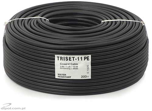 Coaxial Cable (75 ohm): Triset-11 PE 1.65/7.2/10 (class A, gel-filled) [100m]
