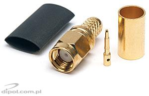 SMA Plug for H-155 Cable (crimped; gilded)