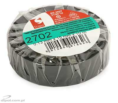 Insulation Adhesive Tape: PVC SCAPA 2702<br />(0.13*15mm/10m, black)