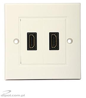 HDMI Wall Outlet (European, double, flush-mounted)