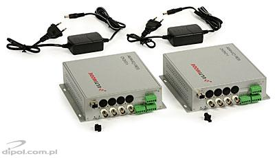 Fiber Optic Video Converter ULTIMODE V-204DAO<br />(WDM, 4 x video, 1 x data, 1 x audio, 1 x alarm)
