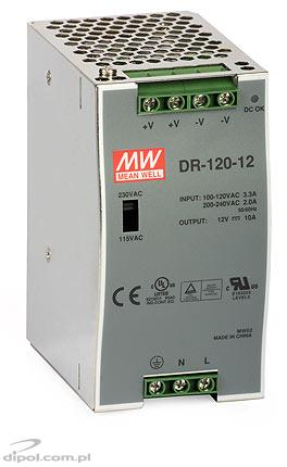Switch Mode Power Supply: DR120-12 (12-14VDC/10A)