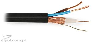 CCTV cable: CAMSET 100 PE 75-0.59/3.7+2x1.0 [100m]<br />(92% braid coverage, 2 power wires up to 230VAC)