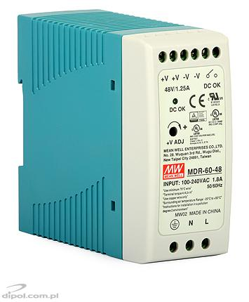 Industrial Power Supply: Mean Well MDR-60-48 (SMPS, 48V, 60W, DIN rail)