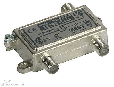 2-way TV/FM Splitter/Combiner: AMS RSI-03 (1 DC pass)