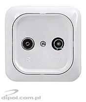 Pass-through flush outlet: Satel GAP-20-BG-DK (20 dB)