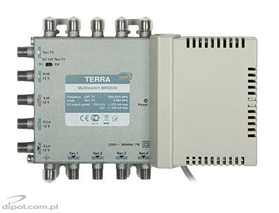 Multiswitch Terra MRS-504 (1 satelit + CATV pasiv, 4 ieşiri, CLASS A)