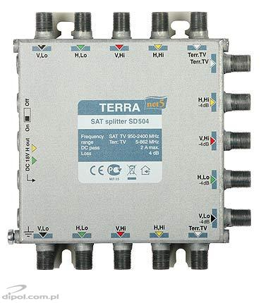 Amplificator multiswitch satelit Terra SA-51D (5 intrări, class A, telealimentat)
