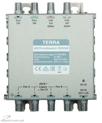 Single-cable Cascadable dSCR Multiswitch: Terra SRQ-540 (AGC, class A, active terr. TV path)