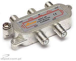 4-way SAT/TV/FM Splitter: Signal 1>4F