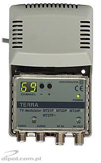 TV Modulator: Terra MT-27P (B/G, D/K: ch. 1-69 &S9-S17, with AC/DC adapter)