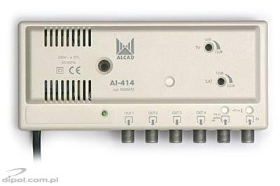 SAT/TV Apartment Amplifier AI-414 (1-input, 4-output, DC path) - ALCAD