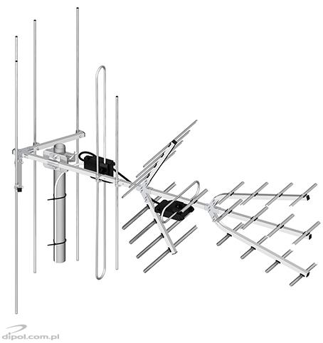 Professional VHF and UHF DVB-T Antenna Set (H/V): DIPOL 28/5-12/21-60 (with LNA-177 amplifier)